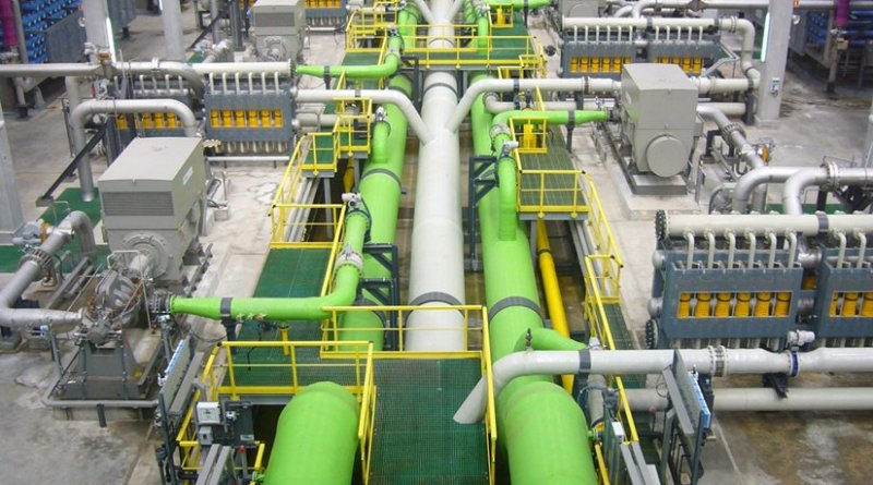 Reverse osmosis desalination plant in Barcelona, Spain. Photo by James Grellier, Wikipedia Commons.