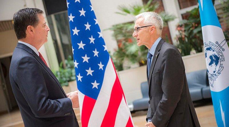 FBI Director James Comey (left) and INTERPOL Secretary General Jürgen Stock (right) at the world police body's General Secretariat headquarters in Lyon, France. Photo Credit: INTERPOL