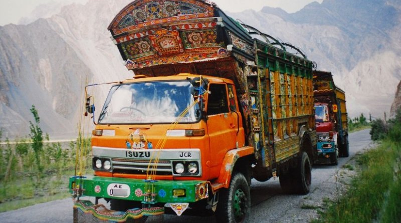 Pakistani trucks in Karakoram Highway, Northern Areas, Pakistan. Photo by Katorisi, Wikipedia Commons.