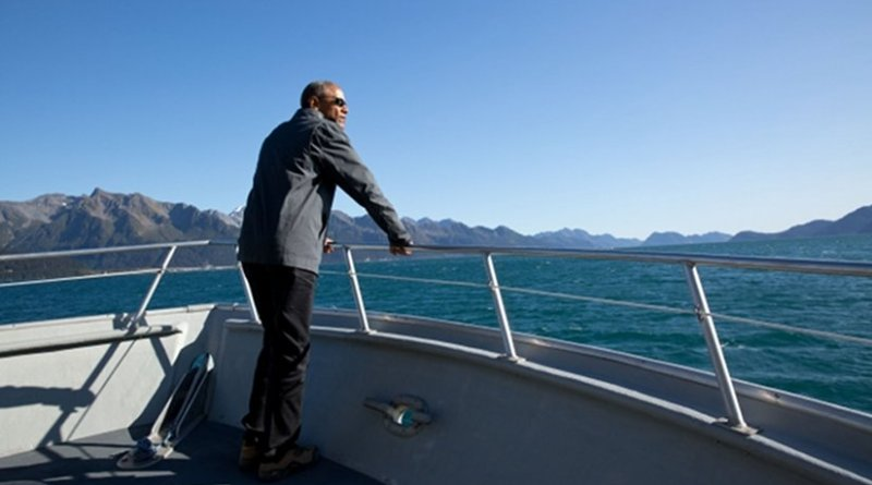President Barack Obama tours Kenai Fjords National Park by boat in Alaska, Sept. 1, 2015. (Official White House Photo by Pete Souza)