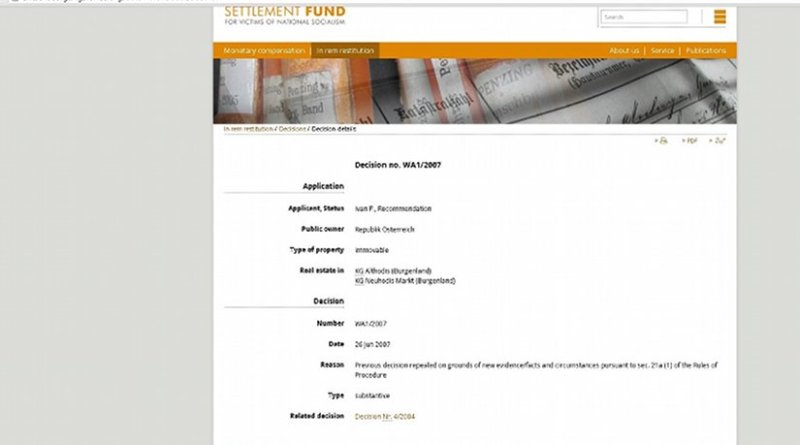 Screenshot taken 23 September 2015 – Austria's National Fund website was missing one one key decision – the one that contained a ruling that impacts Stephan Templ's case.