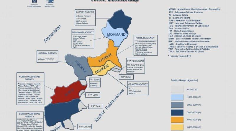 Pakistan: FATA conflict map. Credit: SATP.
