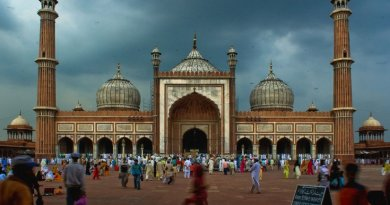 Jama Masjid in Delhi is the largest Mosque of India. Photo by Shashwat Nagpal, Wikipedia Commons.