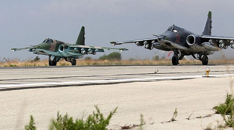 Two Sukhoi Su-25s at Bassel Al-Assad International Airport in Latakia, one type of ground attack aircraft involved in the intervention. Source: Mil.ru, Wikipedia Commons.