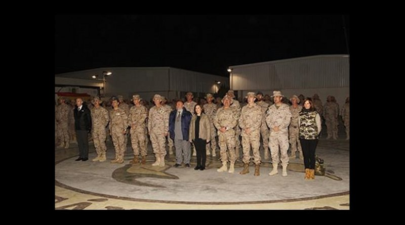 Spain's Deputy Prime Minister Soraya Sáenz de Santamaría, presided over the final lowering of the flag at the Forward Support Base in Herat.