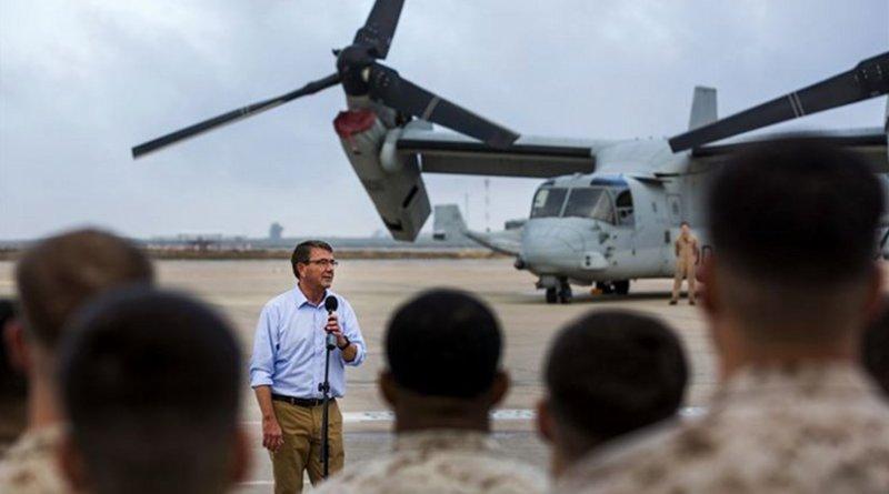 U.S. Defense Secretary Ash Carter speaks to U.S. service members on Morón Air Base, Spain, Oct. 6, 2015. U.S. Marine Corps photo by Staff Sgt. Vitaliy Rusavskiy