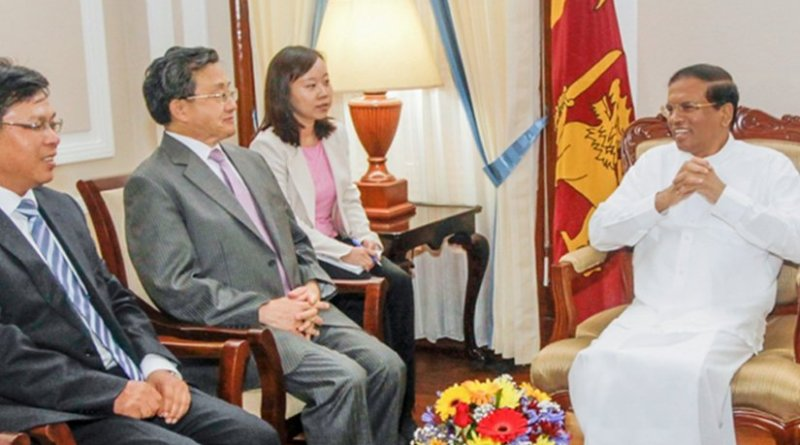 Chinese delegation headed by Chinese Vice Foreign Minister meets Sri Lanka's President Maithripala Sirisena at the Presidential Secretariat. Source: Sri Lanka President's Media Division.