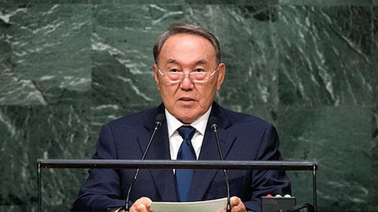 Kazakh President Nursultan Nazarbayev addressing the UN General Assembly in September 2015. Credit: almaty.sites.unicnetwork.org