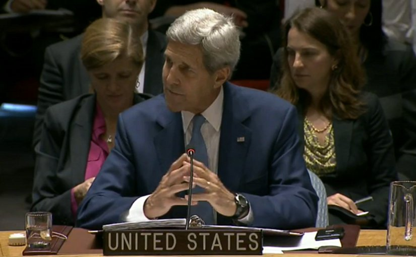 US Secretary of State John Kerry speaks at Meeting on International Peace and Security and Countering Terrorism, Sept. 30, 2015. Photo Credit: Screenshot from State Department video.