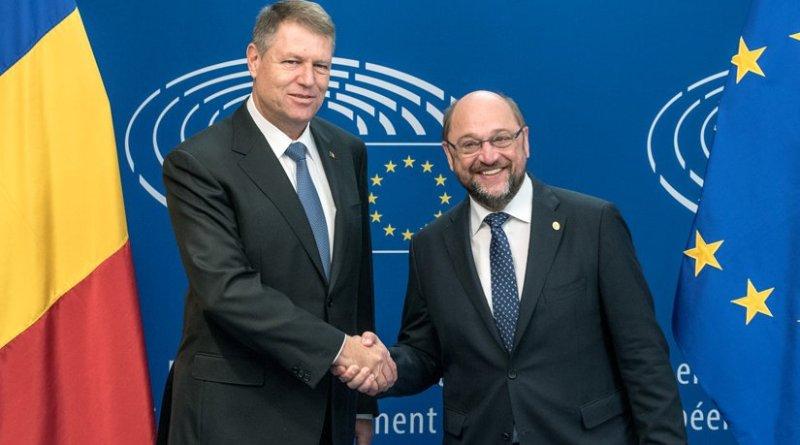 Romania's Klaus Iohannis (left) with Martin Schulz. Photo Credit: European Parliament
