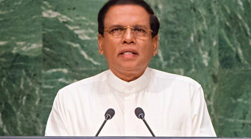 Sri Lanka President Maithripala Sirisena speaks at United Nations.