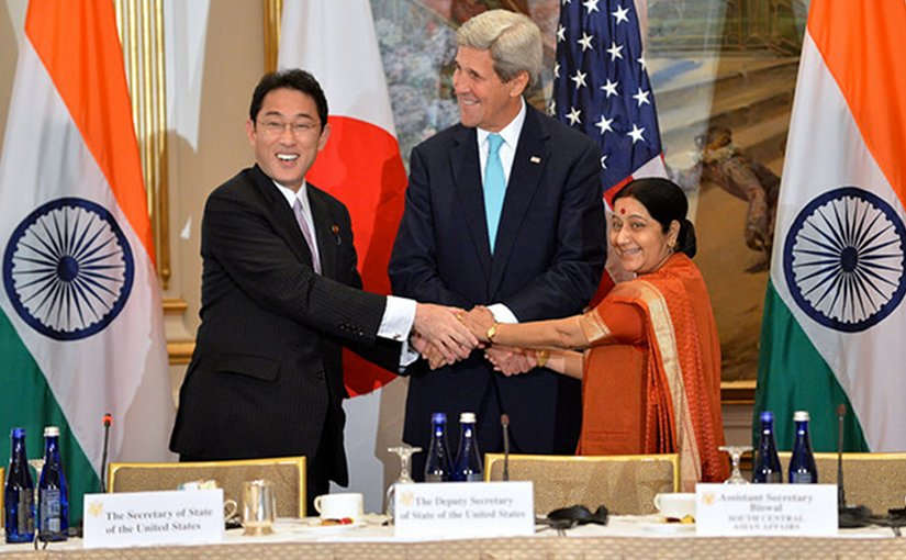 U.S. Secretary of State John Kerry with Japanese Foreign Minister Fumio Kishida and Indian External Affairs Minister Sushma Swaraj at the inaugural U.S.-India-Japan Trilateral Ministerial, on the sidelines of the 70th Regular Session of the UN General Assembly in New York, New York on September 29, 2015.