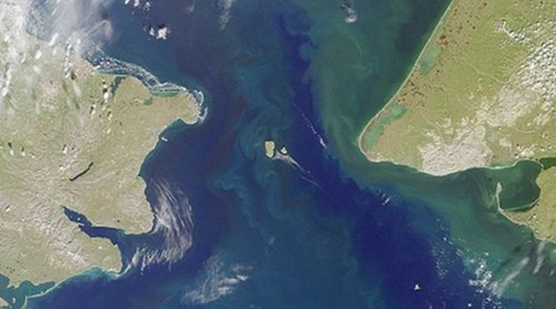 Bering Strait, with Russia to the left and the United States to the right. Photo Credit: NASA/GSFC/JPL/MISR-Team, Wikipedia Commons.