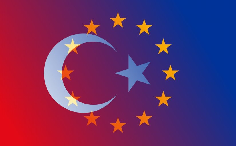 Flags of European Union and Turkey