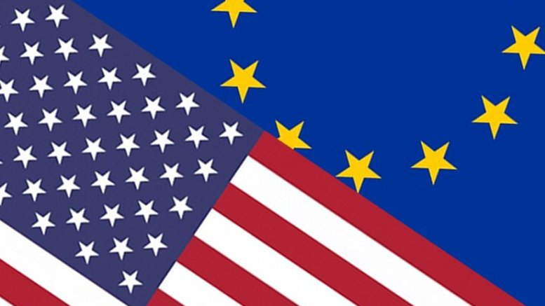 Flags of European Union and United States