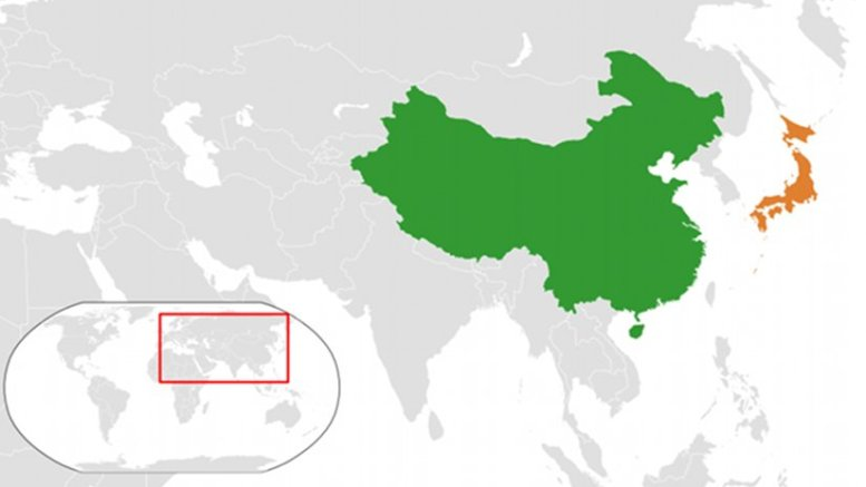 Location of China and Japan. Source: Wikipedia Commons.