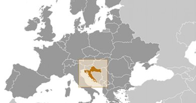 Location of Croatia. Source: CIA World Factbook.