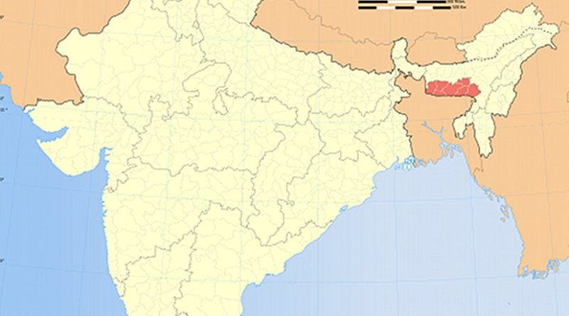 Location of Meghalaya in (marked in red) India. Source: Wikipedia Commons.