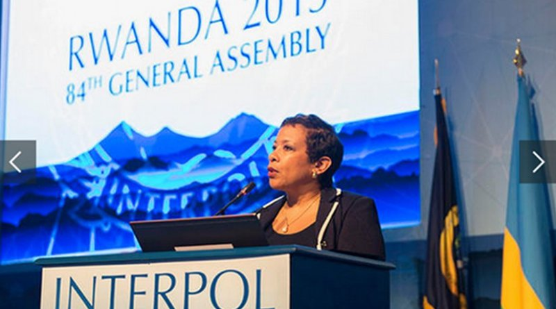 US Attorney General Loretta Lynch at the 84th session of the INTERPOL General Assembly. Photo Credit: INTERPOL.