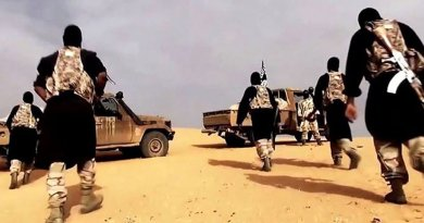 AQIM fighters in a propaganda video, somewhere in the Sahara desert. Source: Al-Andalus Media Productions, the media branch of al-Qaeda in the Islamic Maghreb, Wikipedia Commons.