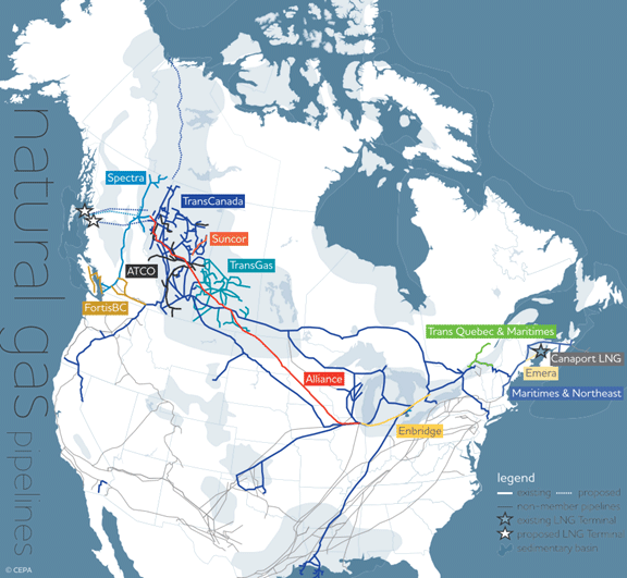 Canada's natural gas pipelines  Source: Canadian Energy Pipeline Association