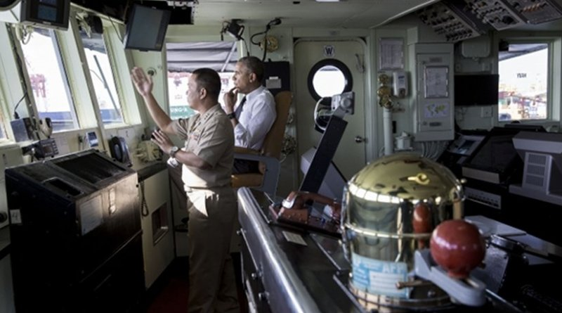 President Barack Obama talks with Captain Vince Sibala on the bridge of the BRP Gregorio del Pilar (PF-15), during a tour of the ship in Manila Harbor, Philippines, Nov. 17, 2015. (Official White House Photo by Pete Souza)