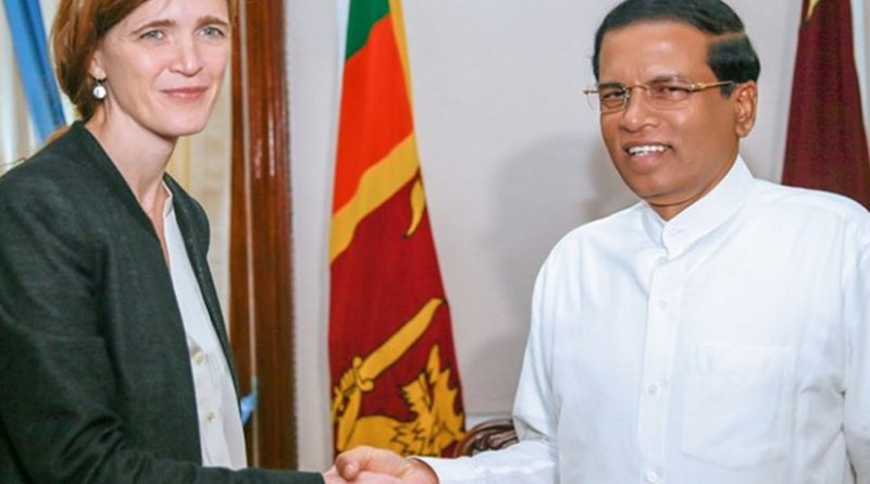 U.S. Permanent Representative to the United Nations Samantha Power meets Sri Lanka's President Maithripala Sirisena. Photo Credit: Sri Lanka Government.