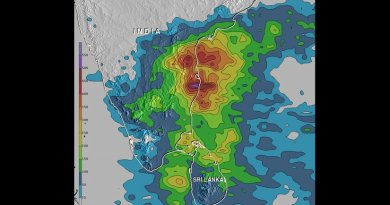 An analysis of rainfall data from Nov. 9 to 16, 2015 showed up to 550 mm (21.7 inches) of rain drenched India's southeastern coast in the state of Tamil Nadu. Over 200 mm (7.9 inches) fell in large areas of southeastern India and northern Sri Lanka. Credit Credits: NASA/JAXA/Hal Pierce