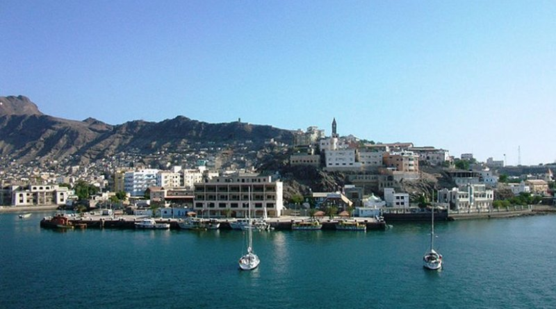 View of Aden, Yemen, from the sea. Photo by T3n60, Wikipedia Commons.