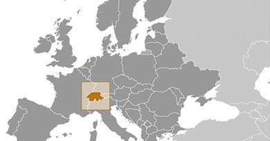 Location of Switzerland. Source: CIA World Factbook.