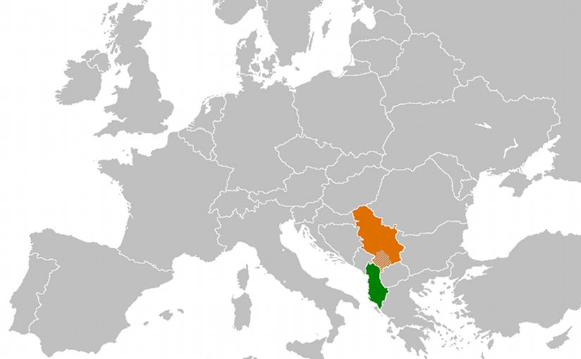 Locations of Albania (green) and Serbia. Source: Wikipedia Commons.