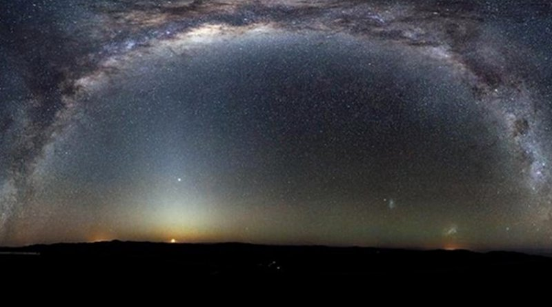 The Milky Way arcs into a panorama in the southern sky, taken from the Paranal Observatory, Chile. / ESO/H.H. Heyer