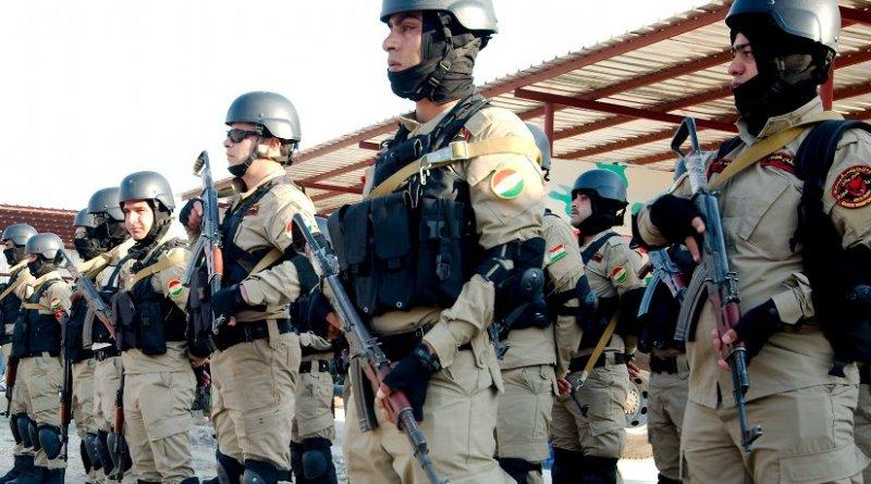 Peshmerga special unit near the Syrian border. Photo by Enno Lenze, Wikipedia Commons.