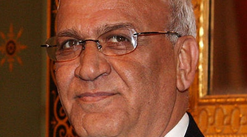 Palestine's Saeb Erekat. Photo Credit: Foreign and Commonwealth Office, Wikipedia Commons.