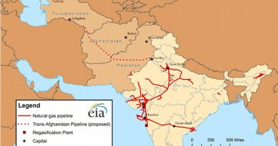 TAPI pipeline and India's natural gas infrastructure. Source: EIA.