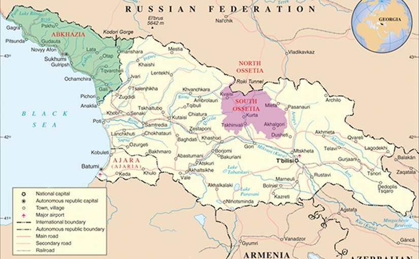 Armenia georgia considered south ossetia as trade route to russia map of georgia highlighting abkhazia green and south ossetia purple source publicscrutiny Gallery