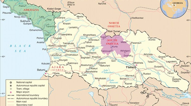 Map of Georgia highlighting Abkhazia (green) and South Ossetia (purple). Source: United Nations Cartographic Section, Wikipedia Commons.
