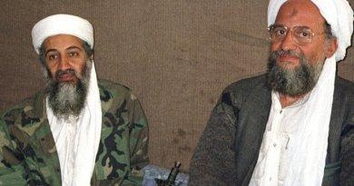 Osama bin Laden sits with Ayman al-Zawahiri in November 2001 photo taken by Hamid Mir. Source: WIkipedia Commons.