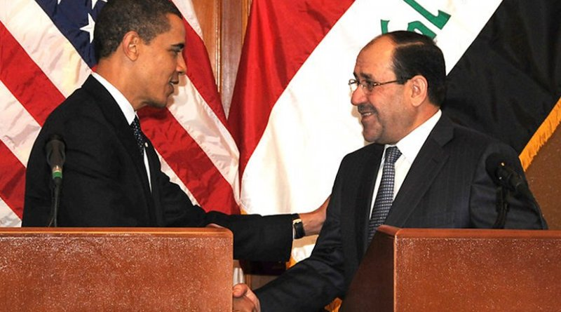 Iraq Prime Minister Nouri al-Maliki shakes hands with U.S. President Barack Obama in Baghdad. Photo by Spc. Kimberly Millett, USA, Wikipedia Commons.