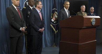 President Barack Obama speaks to reporters at the Pentagon, Dec. 14, 2015, after a meeting with the National Security Council about the fight against the Islamic State of Iraq and the Levant. DoD photo by Air Force Senior Master Sgt. Adrian Cadiz