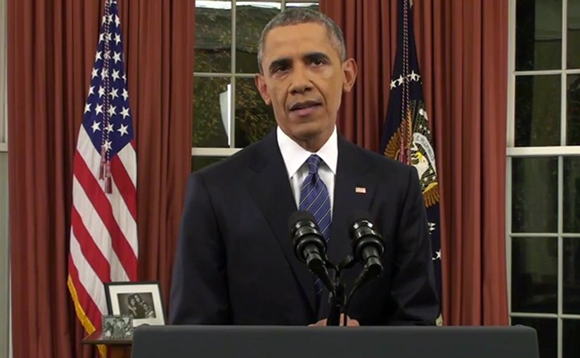 US President Barack Obama addresses the nation December 6, 2015. Photo Credit: Screenshot White House video.