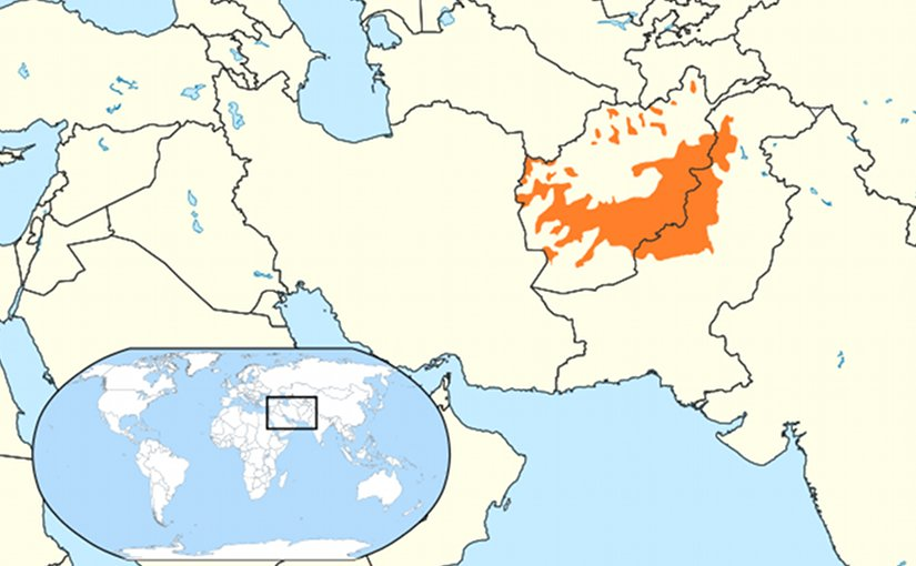 Native Pashtun areas in orange. Source: Wikipedia Commons.