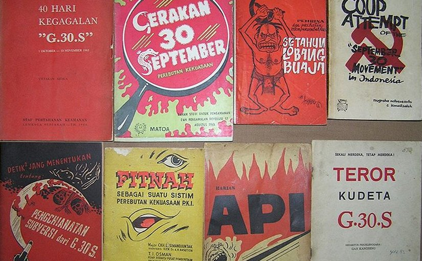 Contemporary anti-PKI literature in Indonesia blaming the party for the coup attempt. Photo by Davidelit, Wikipedia Commons.