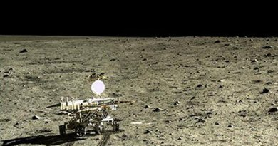 he Chinese lunar rover, Yutu, photographed by its lander Chang'e-3, after the lander touched down in Mare Imbrium, a giant impact basin that had been filled by successive lava flows. Credit: CNSA/CLEP