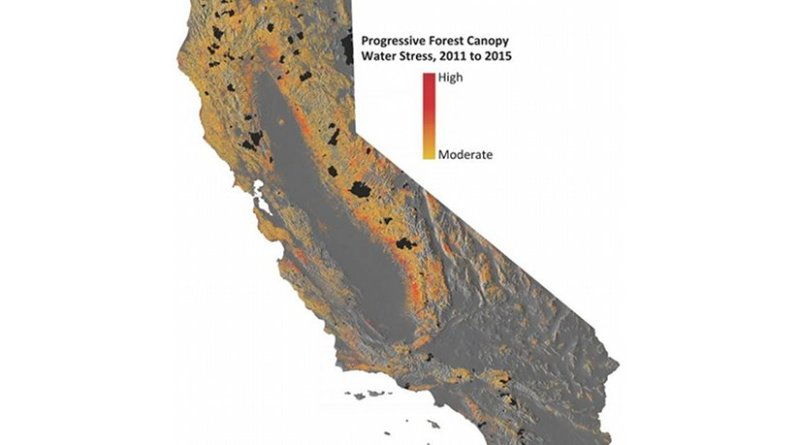 This image shows progressive water stress on California's forests. Credit: Courtesy of Greg Asner.
