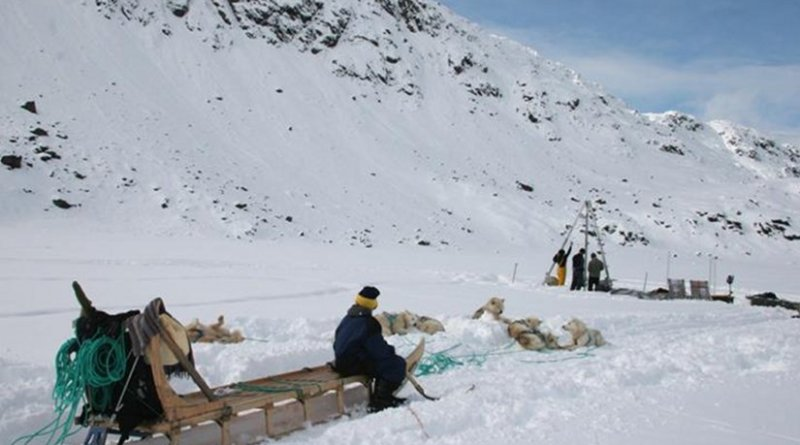 To study the advance and retreat of glaciers over nearly 10,000 years, scientists extracted sediment cores from the bottom of glacier-fed Kulusuk Lake in southeast Greenland. Credit: William D'Andrea