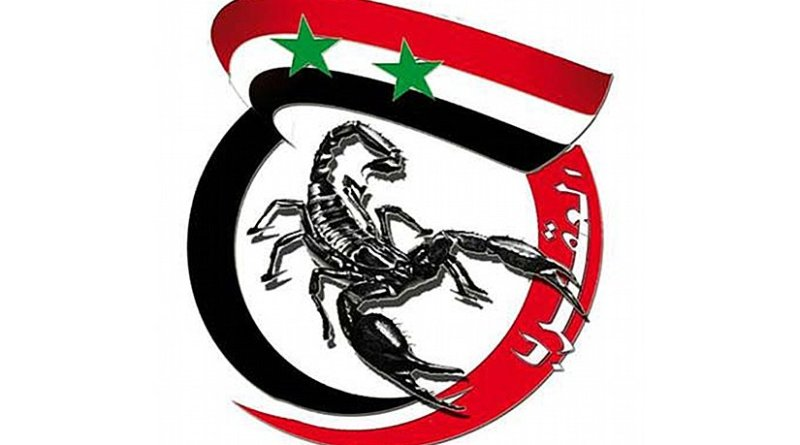 """Emblem of Liwa Khaybar, featuring the Syrian flag used by the regime and a scorpion (hence the inscription """"al-'Aqrab""""- """"The Scorpion""""- referring to the leader of the group)."""