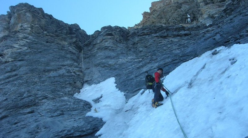Mountain climbing in Bernese Alps in Switzerland. Photo