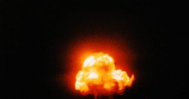 The Manhattan Project created the first nuclear bombs. The Trinity test is shown. Photo by Jack W. Aeby, July 16, 1945, Civilian worker at Los Alamos laboratory, working under the aegis of the Manhattan Project. Source: Wikipedia Commons.
