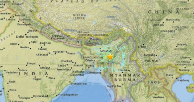 Powerful 6.7 earthquake strikes near Imphal, India near the border with Burma. Source: USGS